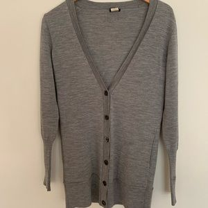 JCrew merino wool cardigan size medium, grey